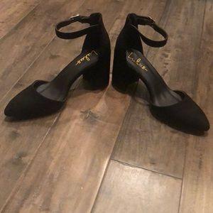 Ellarose Black Suede Ankle Strap Heels
